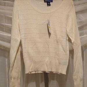 Evan picone cream, white lightweight scoop sweater